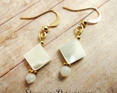 Mother of Pearl Earrings, Mother of Pearl Jewelry, White Earrings, Stone Jewelry, Gemstone earrings, Gemstone jewelry, Square earrings
