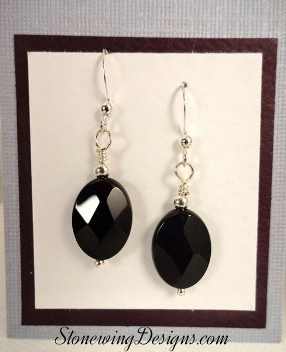 Simple Black Onyx Oval and Sterling Silver Earrings