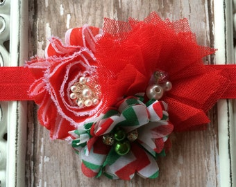 Christmas Red Green Frayed Flowers and Tulle Rosette Headband Babies Toddlers Girls Women