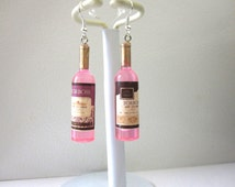 Pink Wine Bottle Earrings Moscato Champagne Rose