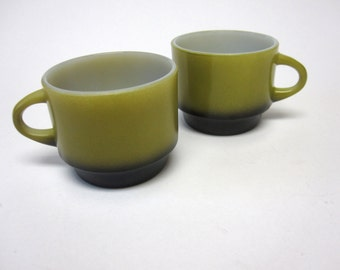 Vintage Avocado Green Coffee Cups Fire King Mugs Set of Two Stackable
