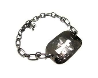 Cross Bracelet Gunmetal Unisex
