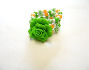 Day Of The Dead Bracelet Wrap Cuff Lime Green White Orange Peach Rose