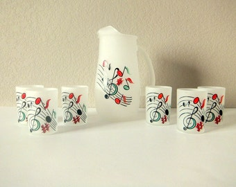 Hazel Atlas Musical Notes Juice Set, Pitcher and Six (6) Tumblers
