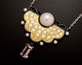 White blossom motif mabe pearl and ametrine silver Keum Boo necklace