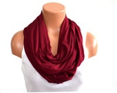 Burgundy Long Infinity Scarf Pantone 2015 Marsala Lightweight Layering Fashion Accessories Women's Ascot Unisex Scarf Neck Warmer