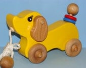 Reserved for Iulia -YELLOW Wooden Puppy Dog - PULL TOY