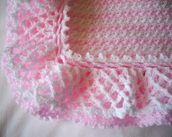 Crochet Baby Blanket, Crochet Baby Afghan, Layered Ruffles and Stripe Baby Blanket, Pink and White Baby Blanket, Pink and White Baby Afghan