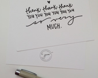 card set | thank thank thank you | 8 hand lettered & designed folded cards with envelopes | A2 110# white felt