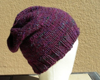 Slouch Hat, Tam, Beanie, Beret, Stocking Cap Plumb Merlot Burgundy Purple Blue Multicolored. A stocking cap that's a slouch hat!