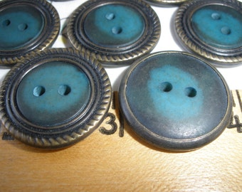 """Brass Edge Buttons Teal buttons Ornate Metal rim 36L (7/8"""" 22mm) Antique brass style etched metal edging 2-hole sew"""