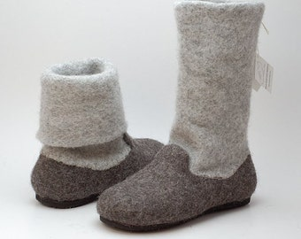 Felt wool slipper boots Gray - felted wool shoes with rubber soles - Size Eur 37 / US 6,5