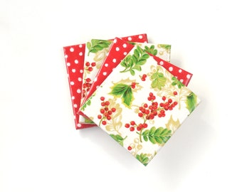Christmas Coasters Mistletoe and Dots Red White Green Gold Holiday Festive Coasters Tile Coasters Christmas Gift set of 2 or 4