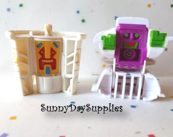 2 Vintage McDonalds Happy Meal Toys ~ Robots - RARE Toys ~ Changeables ~ Pancakes and Soft Drink ~ Kids ~ McDonald's Food Toys