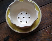 Handmade flower berry bowl colander ceramic porcelain pottery in creamy white, with lemon yellow and white bowl