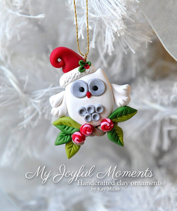 Polymer Clay Christmas Ornament: Handcrafted Polymer Clay Mini Owl Ornament