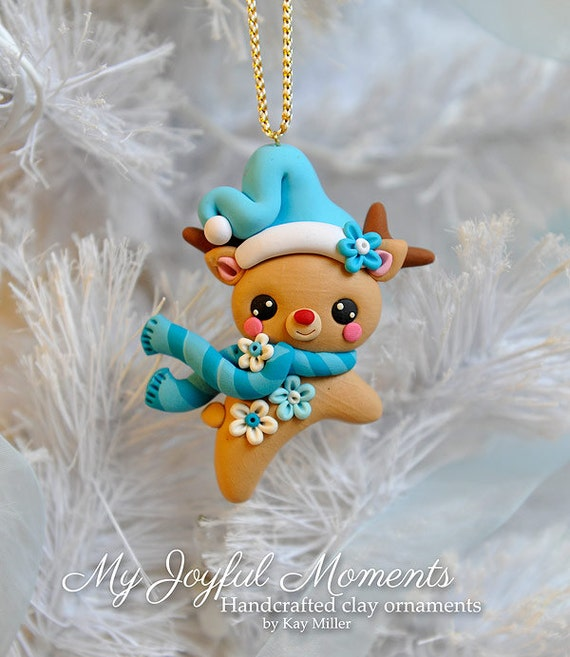 Polymer Clay Christmas Ornament: Handcrafted Polymer Clay Reindeer Ornament