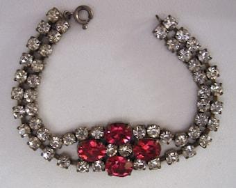Vintage signed CZECH Art Deco hot pink & clear crystals rhinestone bracelet