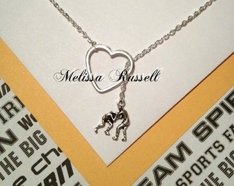 Wrestling charm and heart, silver, lariat necklace, handmade jewelry, holidays, Christmas, birthday, mom, gifts for her