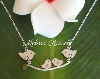 Personalized, Engraved Mommy & Daddy Bird w/ Baby Birds on branch Silver Necklace, Pregnancy, Baby Shower Gift, new mom, Mother's Day, sale