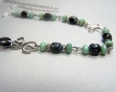 Eye Glass Chain - Black Stone Beads - Eyeglass Holder - Teal Glass Beaded - Sterling Silver - Eyeglass Chain by Eyewearglamour