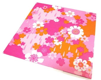 Vintage Wrapping Paper - Pink and Red Floral Shower - Full Sheet Gift Wrap