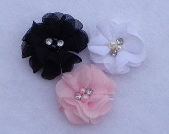 "Flower Hair Bows, Black, Pink or White ""Sparkle Sweetheart"" Flower Bow, Flower Clippie, Flower Bows, Sheer Flower Bows, Easter Hair Bows"