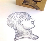 Diagramed Head  Wood Mounted Rubber Stamp  996