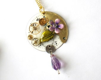 "Victorian Steampunk Necklace ""Golden Gears with a Lavender Flower"""