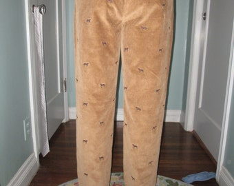 Brooks Brothers Corduroy Pants / Vintage Tan Embroidered Dog pants / Retro Preppy
