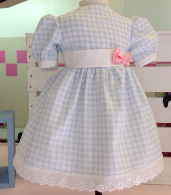 Blue and White Gingham Dress American Made 18 Inch Doll Clothes