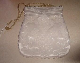 vintage white satin beaded handbag purse