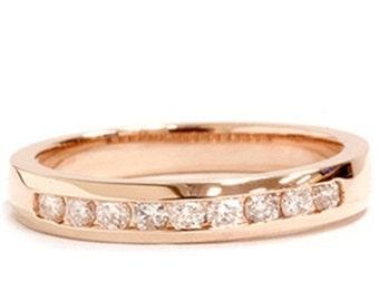 Rose Gold .25CT Round Diamond Wedding Ring 14K 4-9