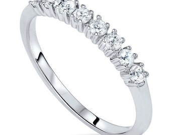 Stackable Diamond Ring .32Ct Eight Stone 14K White Gold Womens Wedding Band