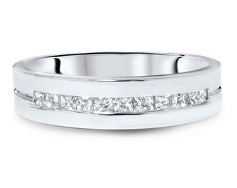 Princess Cut Diamond .60CT Channel Set Mens 5.6MM Wedding Ring Band 14 Karat White Gold Size 7-12