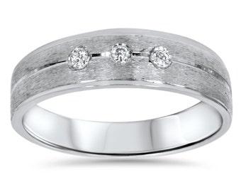 Mens Diamond 3-Stone Brushed White Gold Wedding Band 14 Karat Size (7-12)