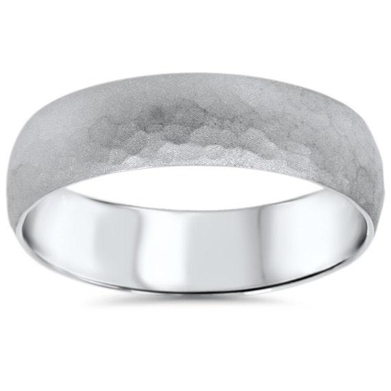 Eheringe weißgold gebürstet  Gehämmert 14K Weissgold Herren gebürstet Ehering Ring