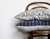 Ikat Decorative Pillow. Grey Blue Red Cushion Cover .