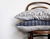 Grey blue Ikat Decorative Pillow. Vintage kimono Grey indigo Red throw Cushion Cover for sofa