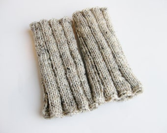 Boot cuffs oatmeal tweed wool hand knitted