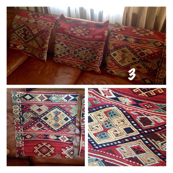 RESERVED MATT Large Antique Wool Kilim Rug Pillow Cover
