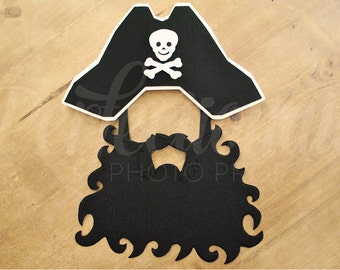 Felt Pirate Hat Prop   Pirate Beard   Pirate Captain   Black Beard