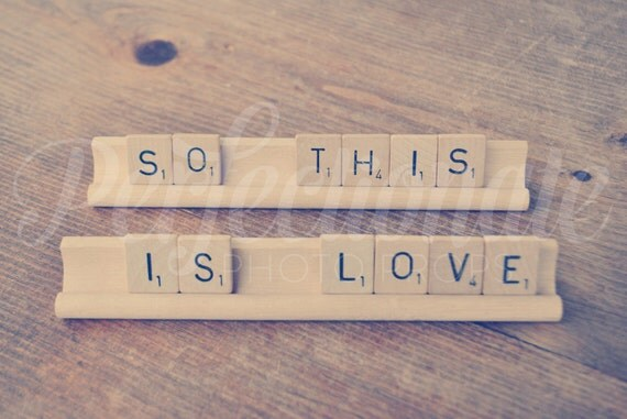 So This is Love Scrabble sign // Wedding Photo Prop // Wedding Love Sign // Wedding Table Decoration // Sweet Phrases // Love Phrases