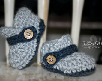 Crochet Pattern for Button Strap Baby Loafers - Baby Booties Shoes Slippers in 4 sizes - Welcome to sell finished items