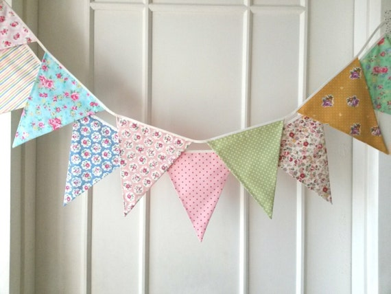 Spring Fabric Banners, Wedding Bunting, Garland, Floral,Shabby Chic- 3 yards (3rd version)