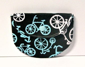 Blue Bicycles Pacifier Pouch, Pacifier Pouch, Pacifier Holder, Coin Purse, Small Wallet, Card Holder, Small Wallet, Binky Pouch