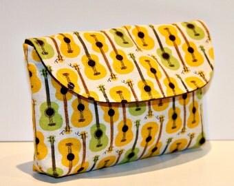 Yellow and Green Guitars Diaper Bag Mama Clutch, Diaper Bag Clutch, Wallet Clutch, Diaper Bag Organizer, Small Clutch, Diaper Bag Wallet