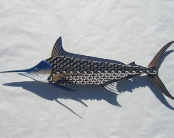 Metal Fish Wall Art -  Blue Marlin Fish Bottlecap Art