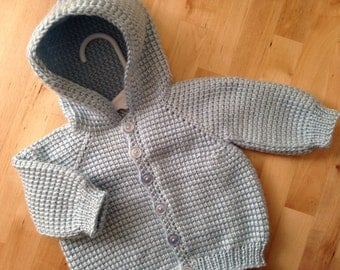 Soft Blue Baby Boy Sweater with Hood - MADE TO ORDER - 0-3 Months - Tunisian Crochet - Handmade