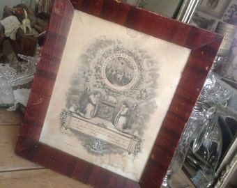 Antique 1865 Beautiful German Death Memorial Certificate